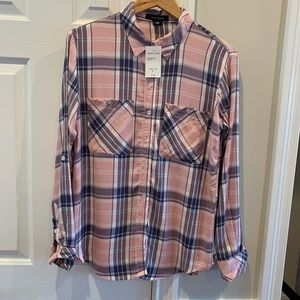 New Sanctuary Pink Plaid Flannel Shirt Sz S